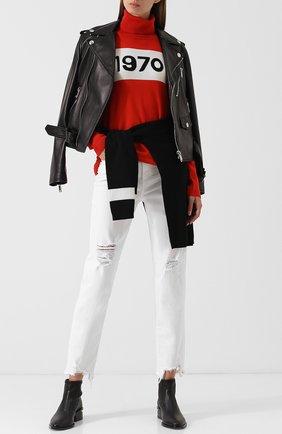 Укороченные джинсы с потертостями Ag белые   Фото №1