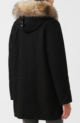 Женская хлопковая парка на меховой подкладке SAINT LAURENT черного цвета, арт. 541961/Y681T | Фото 4