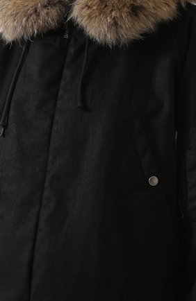 Женская хлопковая парка на меховой подкладке SAINT LAURENT черного цвета, арт. 541961/Y681T | Фото 5