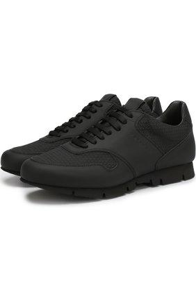 Комбинированные кроссовки на шнуровке Moreschi черные | Фото №1