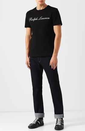 Мужская хлопковая футболка  RALPH LAUREN черного цвета, арт. 790702874 | Фото 2