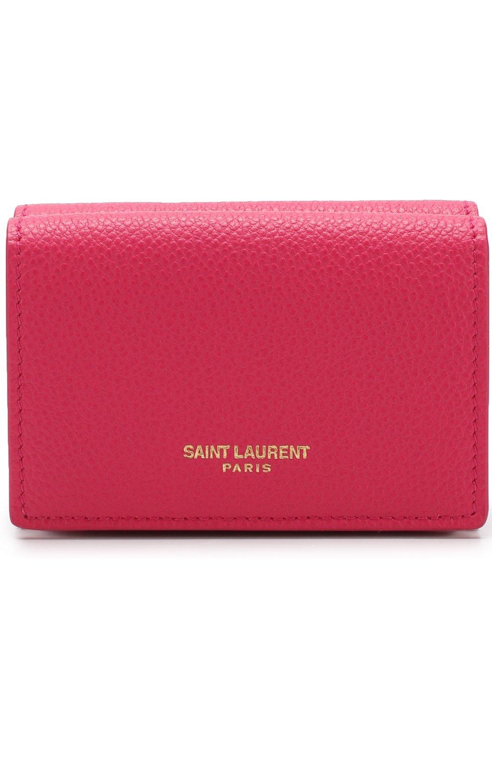 Кожаный кошелек на кнопке Saint Laurent фуксия цвета   Фото №1