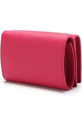 Кожаный кошелек на кнопке Saint Laurent фуксия цвета   Фото №2