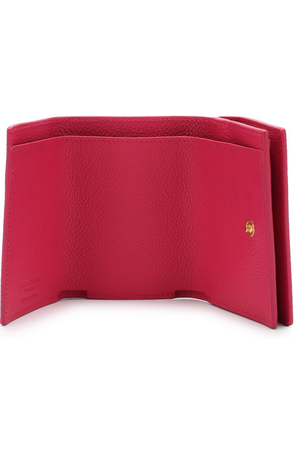 Кожаный кошелек на кнопке Saint Laurent фуксия цвета   Фото №3