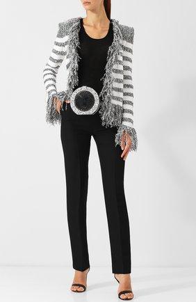 Сумка Disco с глиттером Balmain серебряного цвета   Фото №1