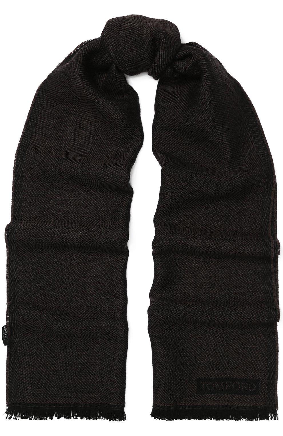 Мужской шерстяной шарф с необработанным краем TOM FORD коричневого цвета, арт. 4TF127/2FB | Фото 1
