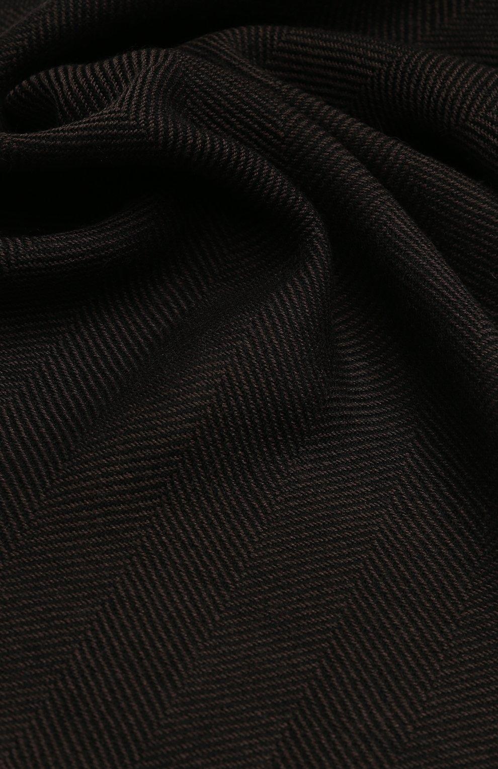Мужской шерстяной шарф с необработанным краем TOM FORD коричневого цвета, арт. 4TF127/2FB | Фото 2