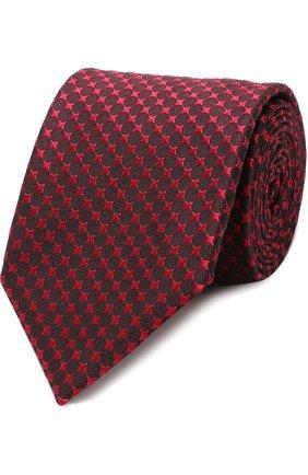 Мужской шелковый галстук с узором TOM FORD красного цвета, арт. 4TF43/XTM | Фото 1