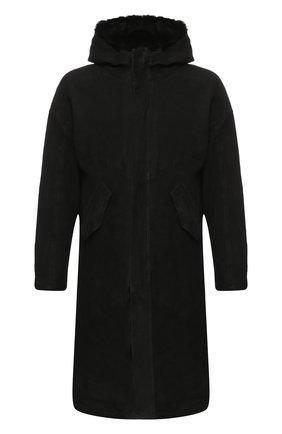 Дубленка прямого кроя на молнии с капюшоном Giorgio Brato черная | Фото №1