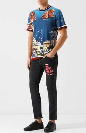Мужские джинсы прямого кроя GUCCI черного цвета, арт. 408637/XRC82 | Фото 2