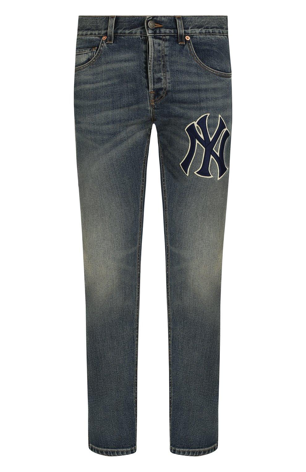 Мужские джинсы прямого кроя с потертостями GUCCI темно-синего цвета, арт. 408637/XRC83   Фото 1