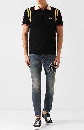 Мужские джинсы прямого кроя с потертостями GUCCI темно-синего цвета, арт. 408637/XRC83 | Фото 2