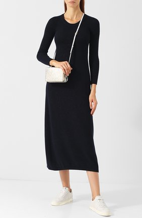 Кашемировое платье с металлизированной нитью Colombo темно-синее | Фото №1