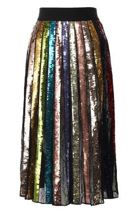 Юбка-миди в складку с пайетками Alice + Olivia разноцветная   Фото №1