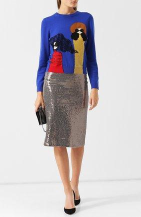 Шерстяной пуловер с вышитым принтом Alice + Olivia разноцветный   Фото №1