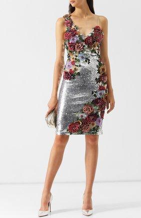 Приталенное платье с пайетками и декоративной отделкой Alice + Olivia разноцветное   Фото №1