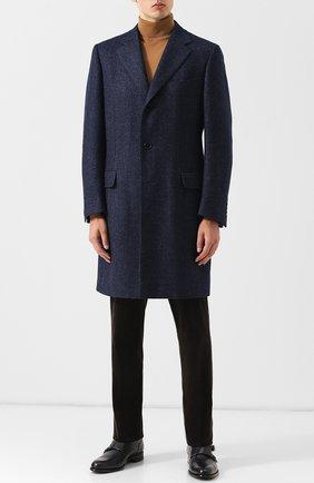 Кожаные монки с двумя пряжками A. Testoni темно-синие   Фото №1