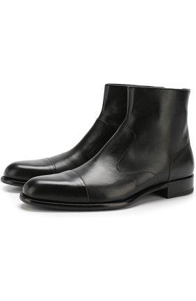 Кожаные сапоги на молнии  A. Testoni черные   Фото №1