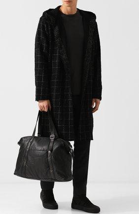Кожаная дорожная сумка с плечевым ремнем Giorgio Brato черная | Фото №1