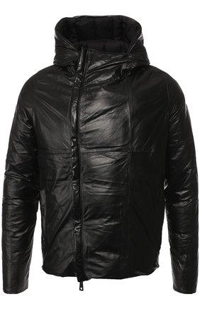 Кожаная куртка на косой молнии с капюшоном | Фото №1