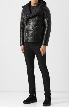 Кожаная куртка на косой молнии с капюшоном Giorgio Brato черная | Фото №1