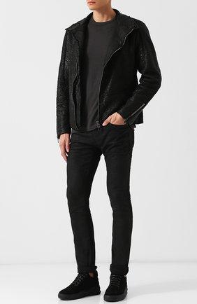 Кожаная куртка на косой молнии с воротником-стойкой Transit черная | Фото №1