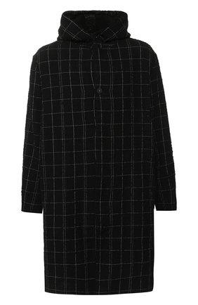 Однобортное пальто из смеси шерсти и хлопка с капюшоном Transit черного цвета | Фото №1