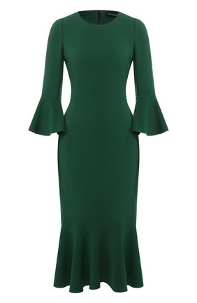 Приталенное платье-миди с круглым вырезом | Фото №1
