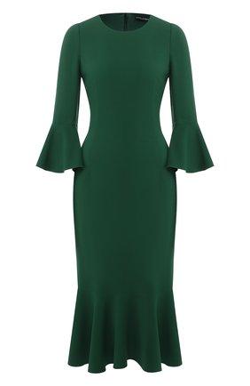 Приталенное платье-миди с круглым вырезом Dolce & Gabbana зеленое   Фото №1