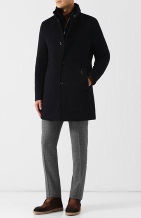 Однобортное пальто из смеси шерсти и кашемира с отделкой воротника мехом норки Moorer темно-синего цвета   Фото №1