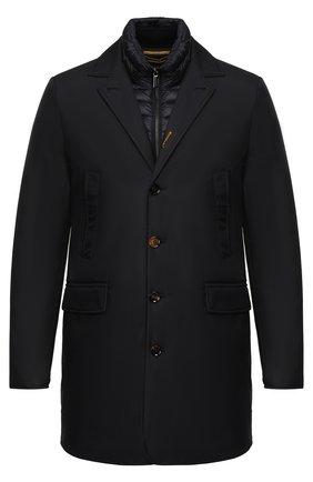 Пуховая куртка на пуговицах с отложным воротником Moorer темно-синяя   Фото №1