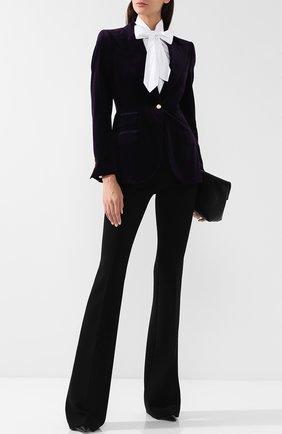 Приталенный бархатный жакет Dolce & Gabbana фиолетовый   Фото №1