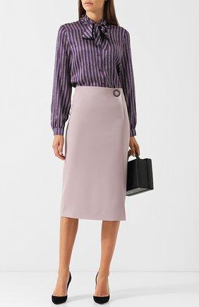 Однотонная шерстяная юбка Giorgio Armani розовая | Фото №1