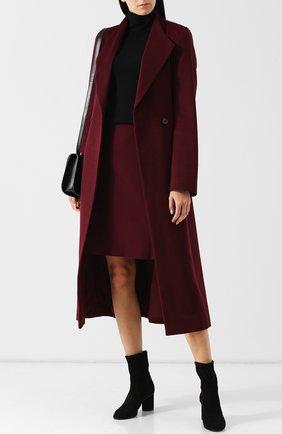 Шерстяное пальто с поясом Windsor бордового цвета | Фото №1