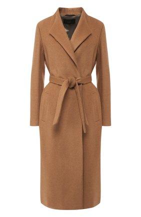 Шерстяное пальто с поясом Windsor бежевого цвета | Фото №1