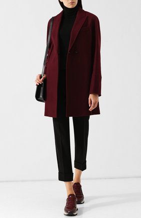 Шерстяное пальто с отложным воротником Windsor бордового цвета | Фото №1