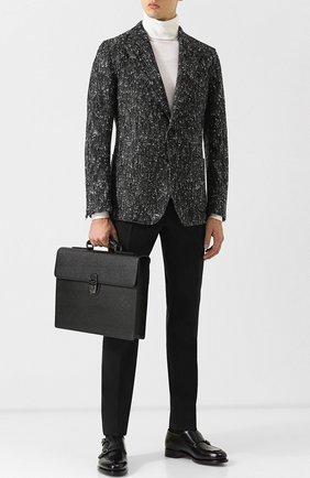 Кожаный портфель Ufficio с клапаном Dolce & Gabbana черный | Фото №2