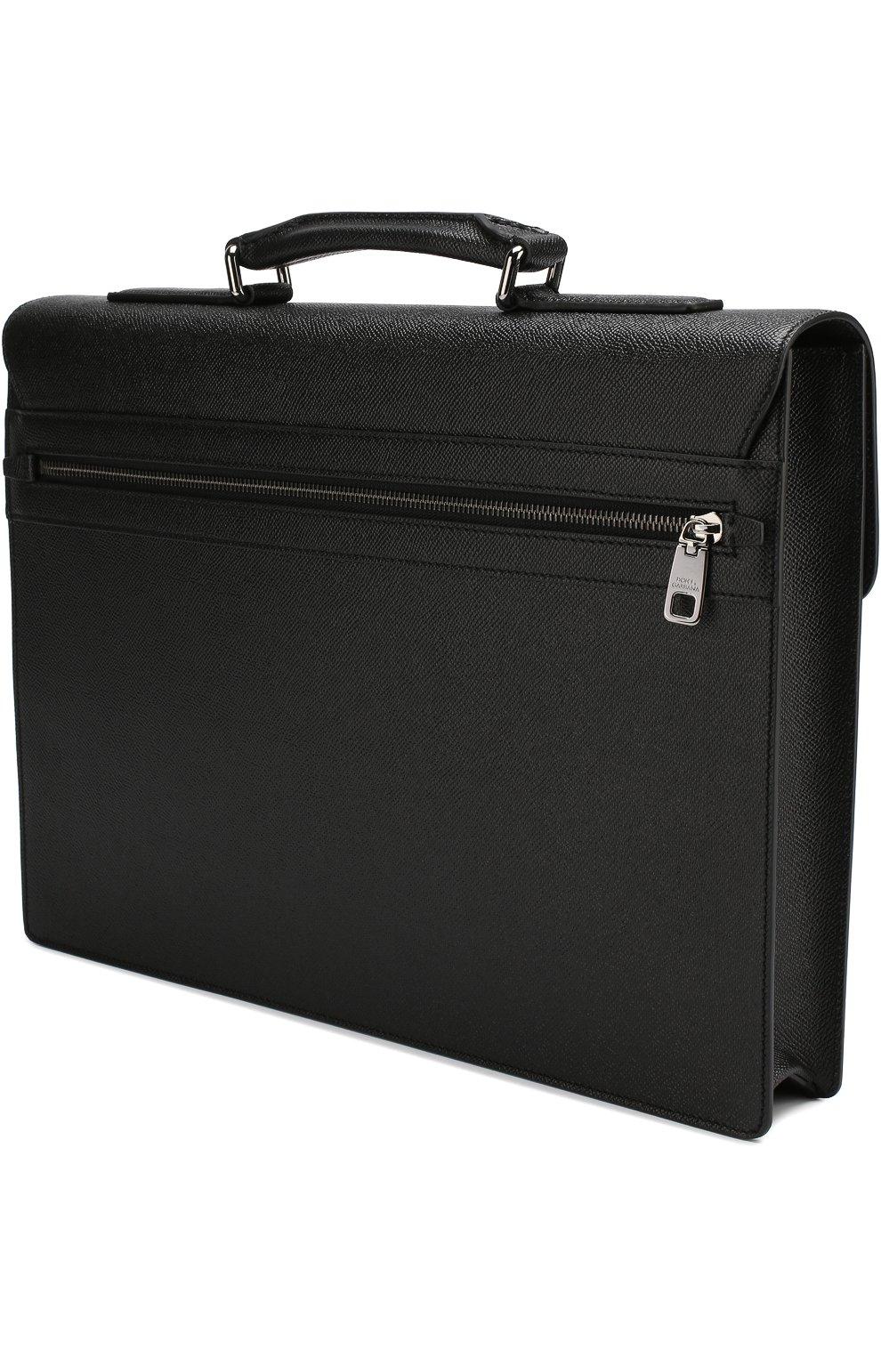 Кожаный портфель Ufficio с клапаном Dolce & Gabbana черный | Фото №3