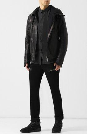 Кожаная куртка на косой молнии с воротником-стойкой Isaac Sellam черная | Фото №1