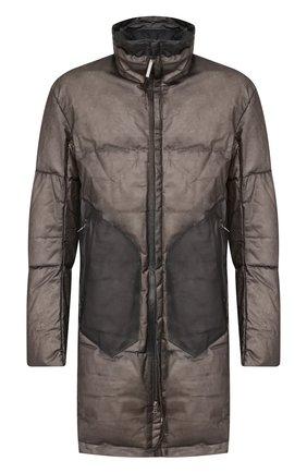 Кожаная пуховая куртка на молнии с воротником-стойкой Isaac Sellam черная | Фото №1