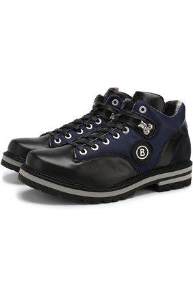 Кожаные ботинки на шнуровке Bogner синие | Фото №1