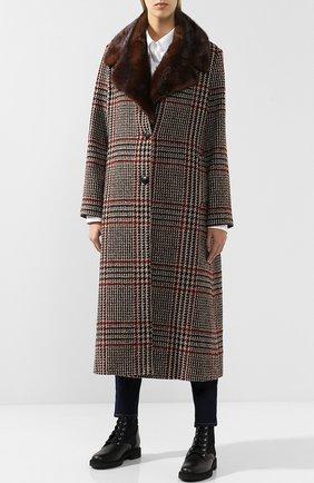 Шерстяное пальто с меховым воротником | Фото №3