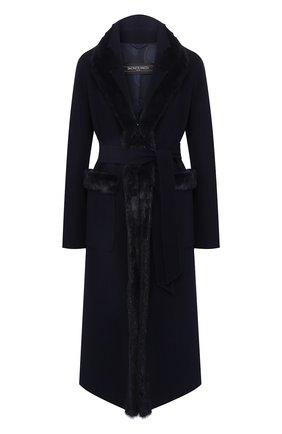 Женское шерстяное пальто с меховой отделкой SIMONETTA RAVIZZA темно-синего цвета, арт. MELISSA1/BL508 | Фото 1