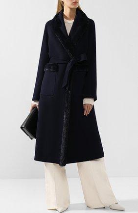 Женское шерстяное пальто с меховой отделкой SIMONETTA RAVIZZA темно-синего цвета, арт. MELISSA1/BL508 | Фото 2