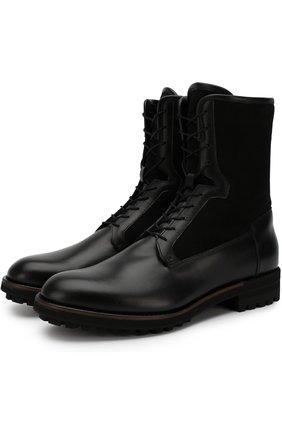 Кожаные высокие ботинки с внутренней меховой отделкой Antonio Maurizi черные | Фото №1