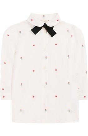 Хлопковая блуза с контрастным бантом | Фото №1