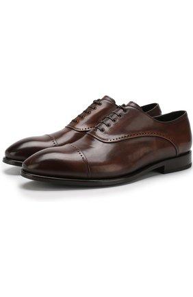 Кожаные оксфорды на шнуровке W.Gibbs коричневые | Фото №1
