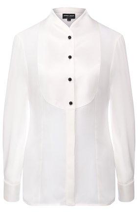 Шелковая блуза с контрастными пуговицами | Фото №1