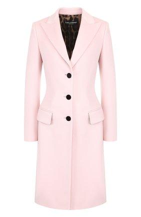 Приталенное шерстяное пальто Dolce & Gabbana светло-розового цвета   Фото №1