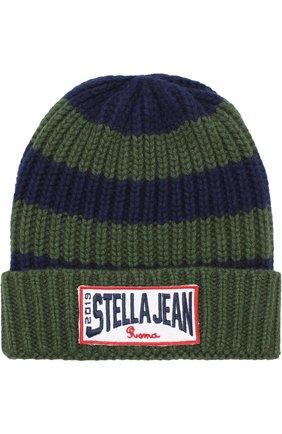 Шапка фактурной вязки Stella Jean Kids хаки цвета | Фото №1